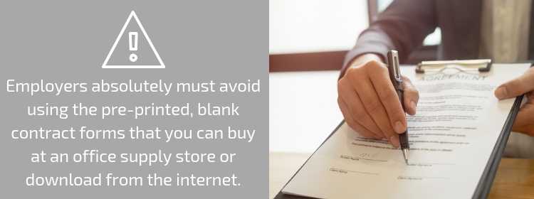 Avoid Pre-printed Contract Forms